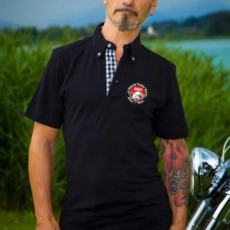 Das schwarze Official Faaker See Biker Polo mit Patch 2017